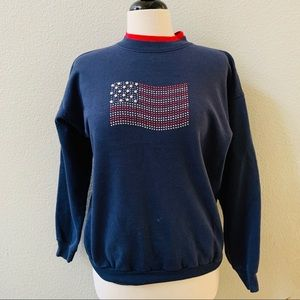 Vintage USA flag bedazzled blue red sweatshirt M